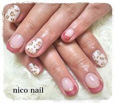 浜松市 中区 自宅ネイルサロン nico nail ニコネイル:フレンチ&レオパード柄ネイル