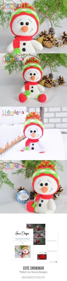 Cute Snowman Amigurumi Pattern (but no feet, snowmen dont have feet.)
