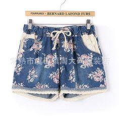 Large Size Women Stamp Denim Shorts Lace Elastic Waist Summer Casual Short Jeans