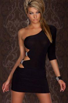 Dear-Lover GOGO Sexy One Arm Mini Club Dress Black