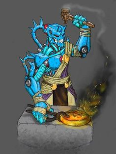 A Skakdi Forge-Worker. Who is this guy? Is he actually yellow, or is he really blue?Still working on that. Bio Art, Dead Space, Robot Concept Art, Lego Bionicle, Lego Models, Dragon Art, Cool Artwork, Tumblr, Character Inspiration