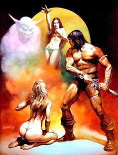 Unlettered cover art by Boris Vallejo for the novel 'Conan The Freebooter' by Robert E Howard & L Sprague De Camp. Boris Vallejo, Fantasy Anime, Fantasy Kunst, Dark Fantasy, Fantasy Artwork, Conan Der Barbar, Zombicide Black Plague, Bell Art, Arte Tribal