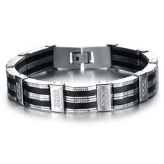NEW Fashion jewelry Punk black Silicone mix Stainless Steel Personality Men Bracelet male Bangles