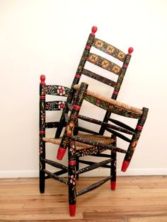 Mexican Folk Art Chairs Hand Painted Fl Impossibly Charming