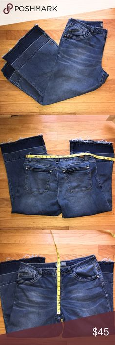Nordstrom Wit & Wisdom crop release hem jeans Adorable, easy fit, Nordstrom Wit & Wisdom brand. No stains, rips or tears. EUC, great denim with just the right stretch. Quality at its best, for a fraction of the original price. Size 12 petite. Released hem design, wide leg, cropped, lightweight denim.  Fast shipping, from a non-smoking environment. Wit & Wisdom Jeans Ankle & Cropped
