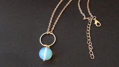 14K Gold Karma Necklace  Circle Necklace Opal di Frammentidivetro