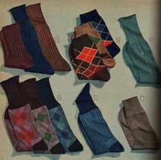 1940s Mens socks, ribbed, argyle, deco pattern, striped and solids.
