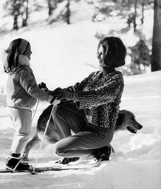Baroness Fiona Thyssen-Bornemisza and her daughter Francesca (Chessy) in St. Moritz, Switzerland, photo by Leonard McCombe, 1963 Skiing Images, Welcome Winter, Winter Fun, Jaqueline Kennedy, St Moritz, Olympic Gold Medals, Cecil Beaton, Swiss Alps, High Society