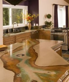 Really cool staining style on this concrete countertop | Pros and Cons of Concrete Countertops Kitchen Redo, New Kitchen, Kitchen Design, Kitchen Remodel, Counter Design, Kitchen Colors, Kitchen Island, Cost Of Concrete Countertops, Kitchen Countertops
