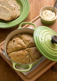 Garlic and Herb Irish Soda Bread with Lemon Honey Butter - Crunchy Creamy Sweet