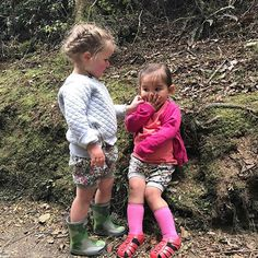 These two little #lotusbabies having fun playing in the Forest #lotusbabydesign #bloomers #handmadebaby #handmadenz available online- link in bio @denboutique and #themarketplace @youngruraladies #toddlerfashion #babystyle
