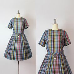 vintage 50s dress / 1950s L'AIGLON dress / plaid cotton dress / novelty coin belt dress / pleated fit and flare / Keep The Change dress by archetypevintage on Etsy https://www.etsy.com/listing/471480625/vintage-50s-dress-1950s-laiglon-dress