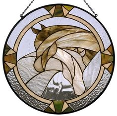 Brown and White Stained glass horses