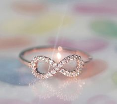 Amazing Rose Gold Infinity Ring with Cubic Zirconia , Brass Sterling Silver Jewelry, Gift for Woman, Bridemaid