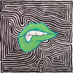 Lip Biting Painting/ Pop Art/ Phsycadelic/ Trippy/ by PacificusArt