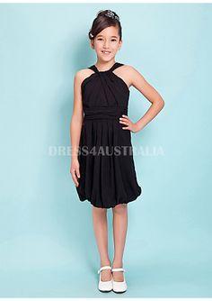 ac0f2d0ec98 Buy Australia Straps Black Ruched Chiffon Knee Length Junior Bridesmaid  Dresses at AU 85.27
