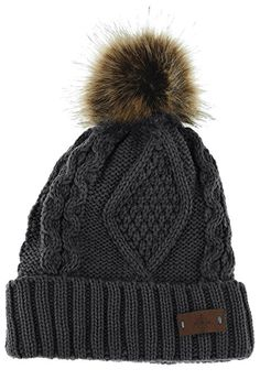 582873fd6 ANGELA & WILLIAM Women's Faux Fur Pom Pom Fleece Lined Knitted Slouchy  Beanie Hat Women