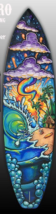 Custom Painted Surfboard Fine Art by Drew Brophy