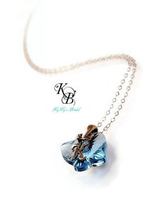 Personalized Flower Girl Necklace with gorgeous Swarovski butterfly crystal pendant and sterling silver script initial on sterling silver chain.