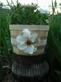 Burlap and Lace Flower Girl Basket - Rustic Wedding Basket