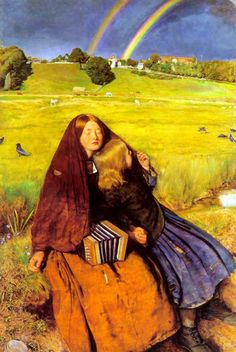 """Painting of the Day! John Everett Millais (1829-1896) """"The Blind Girl"""" Oil on canvas, 1854-1856. - To see more works by this artist please visit us at: http://www.artrenewal.org/pages/artwork.php?artworkid=654&size=large"""