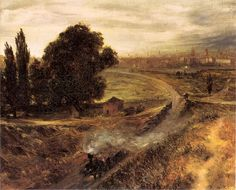 Adolf Menzel, Berlin Landscape (Early morning train), 1848