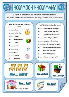 A worksheet to revise the use of how much and how many. Thanks. Have a great day. - ESL worksheets