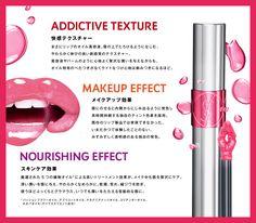ADDICTIVE TEXTURE 快感テクスチャー まさにリップのオイル美容液。唇の上でとろけるようになじむ、やわらかく伸びの良い新感覚のテクスチャー。 美容液やバームのように心地よく贅沢な潤いを与えながらも、オイル特有のべたつきがなくライトなつけ心地は病みつきになるほど。 MAKEUP EFFECT メイクアップ効果 唇にのせると内側からにじみ出るように発色し長時間持続する独自のティント色素を採用。 既存のリップ製品では実現できなかった、いまだかつて体験したことのない、みずみずしく透明感のある独自の発色。 NOURISHING EFFECT スキンケア効果 厳選された5つの植物オイル*による高いトリートメント効果が、メイク中も唇を贅沢にケア。 深い潤いを唇に与え、やわらかくなめらかに。乾燥、荒れ、縦ジワを防ぎ、使うほどふっくらとグラマラス、いつでも潤いをたたえる官能的な唇に。 *パッションフラワーオイル、アプリコットオイル、マカデミアナッツオイル、コリアンダーオイル、ホホバオイル(すべてエモリエント成分)