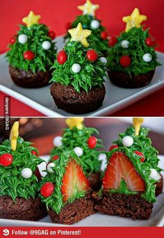 Make Chocolate Cupcakes and Cool. Wash and dry strawberries. strawberries on top of cupcakes. totally doing this for christmas this year~ Christmas Tree Brownies, Christmas Tree Cupcakes, Cool Christmas Trees, Noel Christmas, Christmas Goodies, Christmas Desserts, Christmas Treats, Holiday Treats, Holiday Recipes