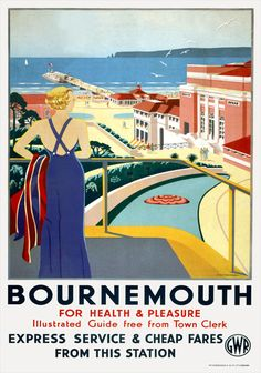 England - Dorset - Bournemouth For Health & Pleasure vintage travel poster GD Tidmarsh