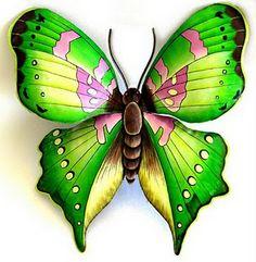 Butterflies Metal Butterfly Wall Art, Butterfly Wall Decor, Butterfly Painting, Butterfly Decorations, Green Butterfly, Butterfly Artwork, Butterfly Drawing, Design Tropical, Tropical Wall Decor