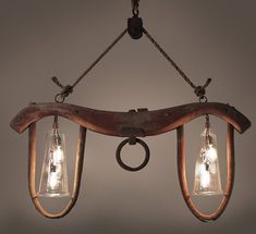 Ox Yoke Repurposed into One Of A Kind Chandelier very cool ...