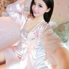 668d6bc74 Summer Two Pieces Sets Elegant Womens Silk Satin Nightgowns Sleepshirts  Solid Sleepwear Mujer Robe Lady Sexy Lace Nightdress. CamisolaLingerie ...