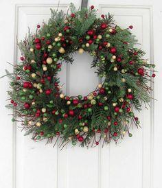 Christmas Wreath - Holiday Wreath - Rustic Wreath - Artificial Pine - Christmas Berry Wreath - Winter Wreaths - Cabin Decor by Designawreath on Etsy
