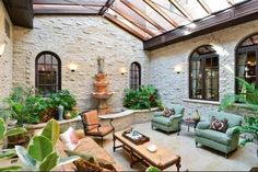 w/glass roof, furnished as interior room.Courtyard w/glass roof, furnished as interior room. Outdoor Rooms, Indoor Outdoor, Outdoor Living, Indoor Garden, Classical Architecture, Architecture Design, Internal Courtyard, Courtyard House, Atrium House