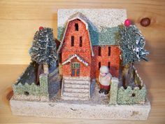 Vintage Christmas village putz house.
