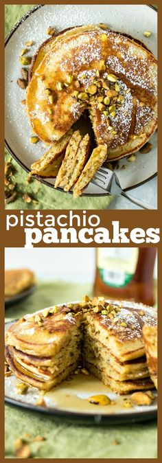 Pistachio Pancakes - CPA: Certified Pastry Aficionado Best Breakfast Recipes, Sweet Breakfast, Brunch Recipes, Breakfast Ideas, Second Breakfast, Breakfast Club, Waffle Recipes, Vegan Recipes Easy, Pancake Recipes