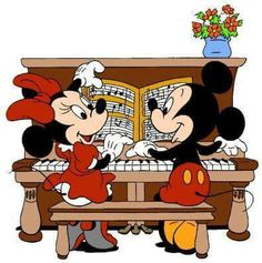 Mickey Mouse and Minnie Mouse playing piano. Walt Disney, Disney Mickey Mouse, Mickey Mouse Y Amigos, Mickey Love, Mickey Mouse And Friends, Cute Disney, Disney Magic, Minnie Mouse Pictures, Disney Pictures