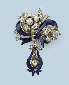 AN ANTIQUE ENAMEL AND DIAMOND BROOCH   Designed as a blue enamelled ribbon with rose-cut diamond set clasp and flowers, supporting a similarly set rose-cut diamond set drop, mid 19th Century