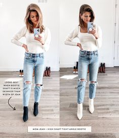 Dec 2019 - Talking about how to wear ankle boots and giving you oodles of outfit inspiration from wearing ankle booties with leggings to cuffed jeans and more! Ankle Boots Outfit Winter, Ankle Boots With Leggings, Best Ankle Boots, Winter Boots Outfits, How To Wear Ankle Boots, Jeans Outfit Winter, White Ankle Boots, Mom Jeans Outfit, Denim Outfits