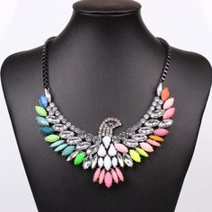 Multi-color Eagle Statement Necklace