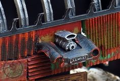 Detail of the Hot Rod Garage. We have opened a PayPal option for late backers! Here is the link http://ift.tt/1qDoMal #3dprintable #3dprinting #scenery #wargames #wargamingterrain #kickstarter #landsofruin #warhammer40k #28mm #3dprinter #escenografía #roleplaying #postapocalypse #madmax by thunderchrome