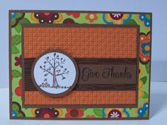 Stampin Up Handmade Greeting Card: Thanksgiving Card, Fall, Autumn, Give Thanks, Tree, Falling Leaves on Etsy, $3.50