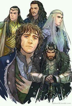 Bilbo, Thorin, Elrond, Bard, Thranduil | The Hobbit