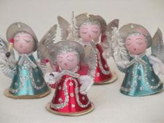 Tiny Paper Angels Vintage Made In Japan Christmas Ornament Decorations Happy New Year Christmas Figurines, Christmas Candles, Vintage Christmas Ornaments, Retro Christmas, Christmas Items, Vintage Holiday, Winter Christmas, Christmas Crafts, Christmas Decorations
