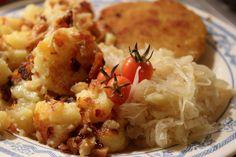 Ein herrlich deftiges Abendessen mit Sauerkraut, Bratkartoffeln und Schnitzel gabs bei Johanna. LECKER!