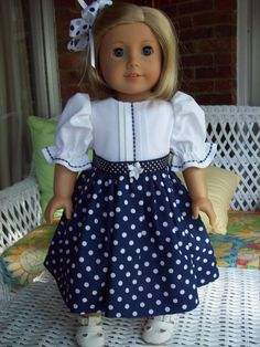 American Girl doll or 18 inch doll dress and hair by ASewSewShop, $14.99  Very sweet!