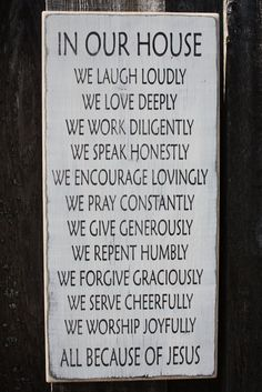 All Because of Jesus Family Rules - 12x24 Custom Handpainted Rustic Wooden Sign on Etsy, $45.00
