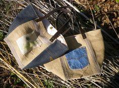 Sacs cabas en jeans, chanvre, toile de jute, anses en cuir.