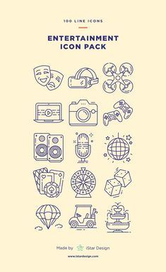 Entertainment icons set made by istar design. series of 100 pixel-perfect icons, created by influence of entertainment industry and amusement park. Toros Tattoo, Icon Design, Web Design, Line Illustration, Branding, Icon Set, Icon Icon, Line Icon, Icon Pack
